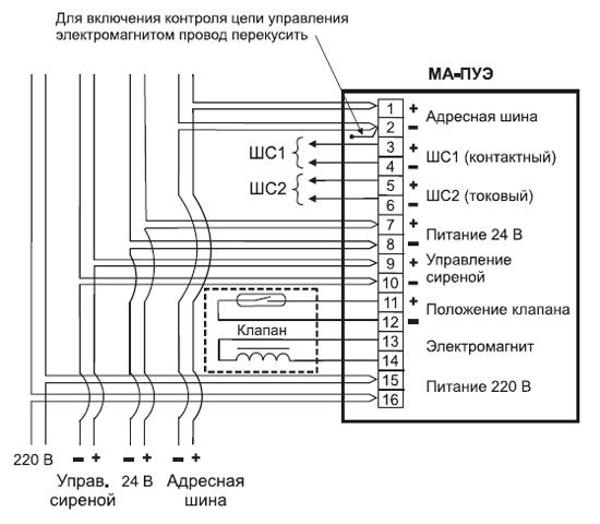 Назначение клемм и схема подключения модуля.
