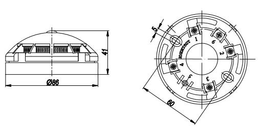 Габаритные и установочные размеры извещателя ИП 212-90 ОДИН ДОМА